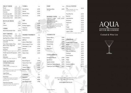 Menus & Prices, AQUA River Brasserie, London