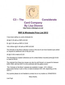 Menus & Prices, C3 - The Considerate Card Company, Liskeard