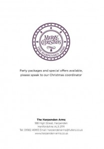 Menus & Prices, The Harpenden Arms, Harpenden