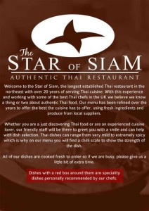 Menus & Prices, Star of Siam Authentic Thai Restaurant, Houghton le Spring