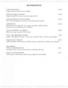 Menus & Prices, Serafina, New York City