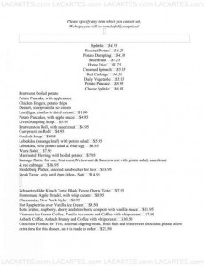 Menus & Prices, The Heidelberg Restaurant, New York City