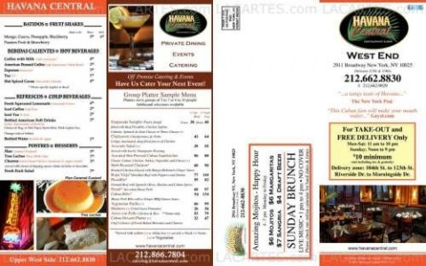 Menus & Prices, Havana Central Bar and Restaurant, New York City