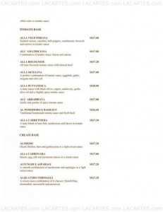 Menus & Prices, Pasta Fresca Da Salvatore @ Boat Quay   , Singapore