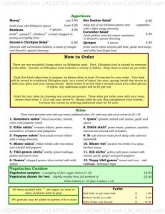 Menus & Prices, Ras Dashen, Chicago