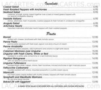 Menus & Prices, Mario's Pasta Cucina , Stony Point