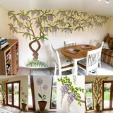 Garden themed feature wall murals - Wisteria, climbing rose and wild garlic wall paintings