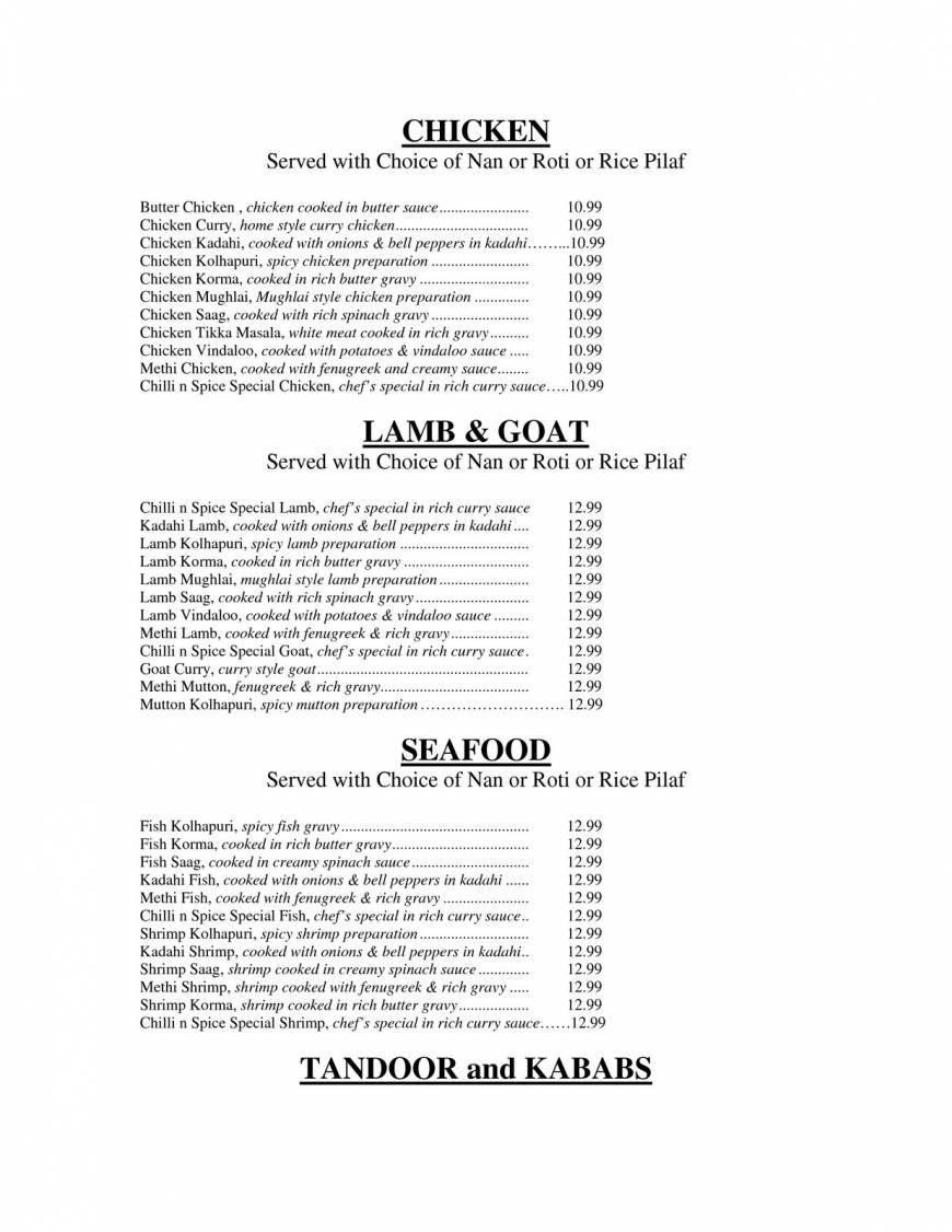 Pricelists of Chilli N Spice Indian Bistro 8562 West 133rd Street - Photo 2 of 5