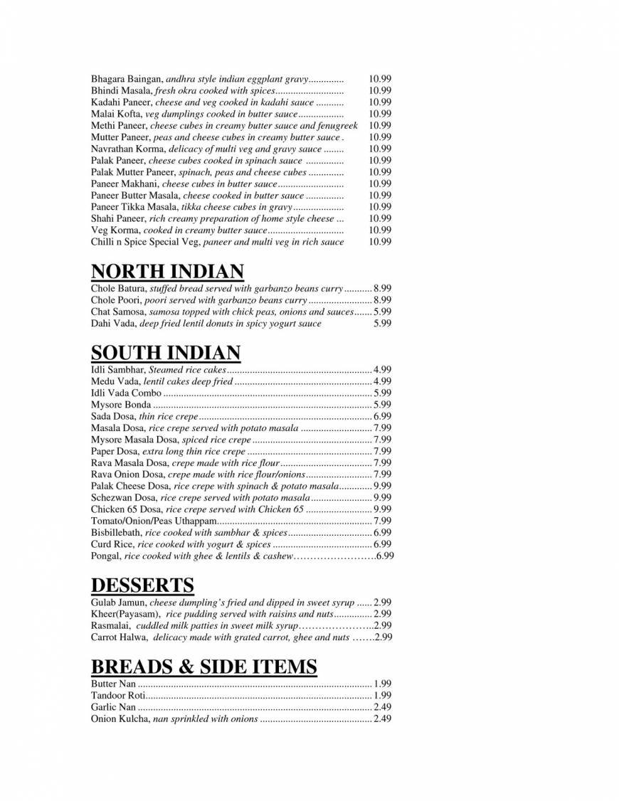 Pricelists of Chilli N Spice Indian Bistro 8562 West 133rd Street - Photo 4 of 5