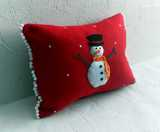 Red 3d Snowman Christmas cushion with pom poms