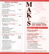 Pricelists of Mak's Chinese Takeaway