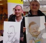 2 men and their caricatures Crazy Caricatures St Mary Street