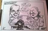 Mr and Mrs and their dog cartoon stip by Adam Crazy Caricatures St Mary Street