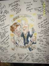 Adams Crazy Caricatures commission caricature and signing in board. Crazy Caricatures St Mary Street