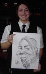 This is a greyscale caricature and the girl was a staff member in a pub. Crazy Caricatures St Mary Street