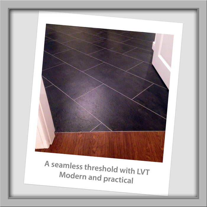 LVT is practical and fashionable.<br /> Wood and tile run seamlessly across this threshold and opens up the doorway.<br /> With a stylish modern look this smooth finish is easy to clean and durable. Fitters' Snaps of DA Flooring 3 Enmore Close - Photo 6 of 8