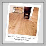 Simplicity lends elegance to a small area.<br /> A small entrance can make an impression with a minimal approach.<br /> Laminate flooring is ideally suited to high traffic areas and the fitted entrance mat adds that finishing touch. DA Flooring 3 Enmore Close
