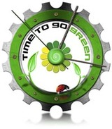 Metal clock gear-shaped with written time to go green, leaves and ladybug