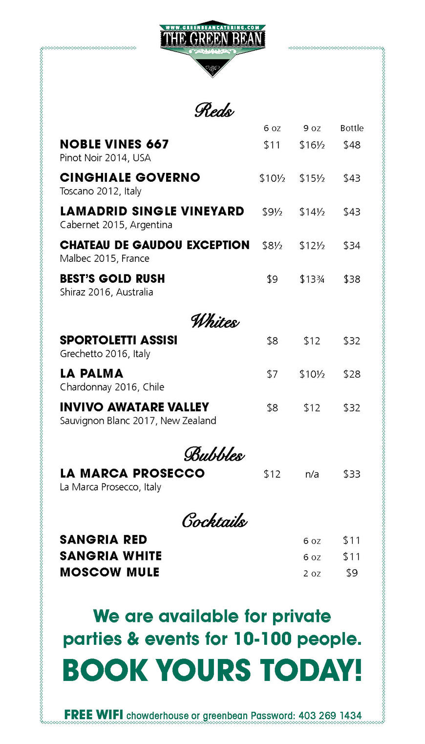 Pricelists of Green Bean Restaurant & Catering 102 550 6th Avenue SW - Photo 5 of 6