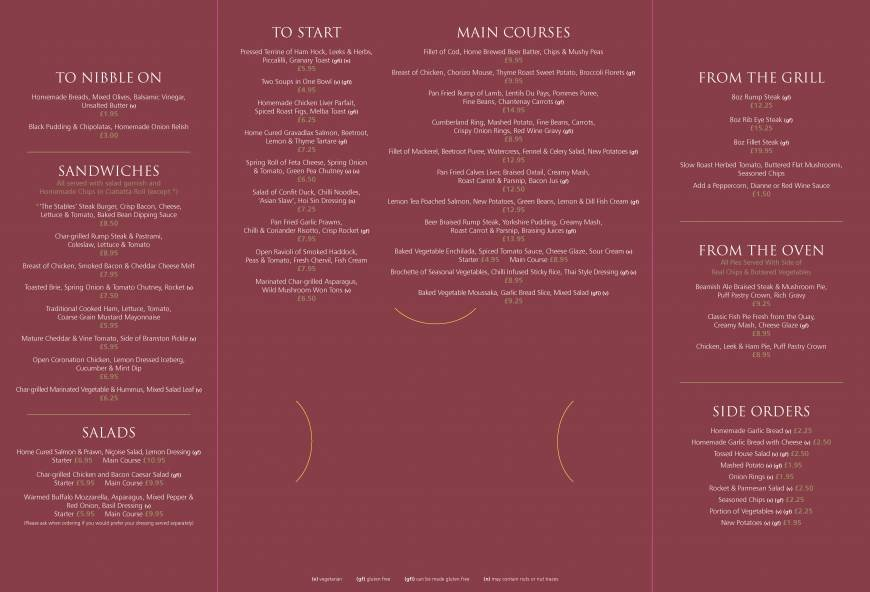 Pricelists Of The Les Restaurant At Beamish Hall Photo 4