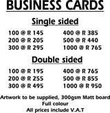 Pricelists of L&A Numberplates & Signs