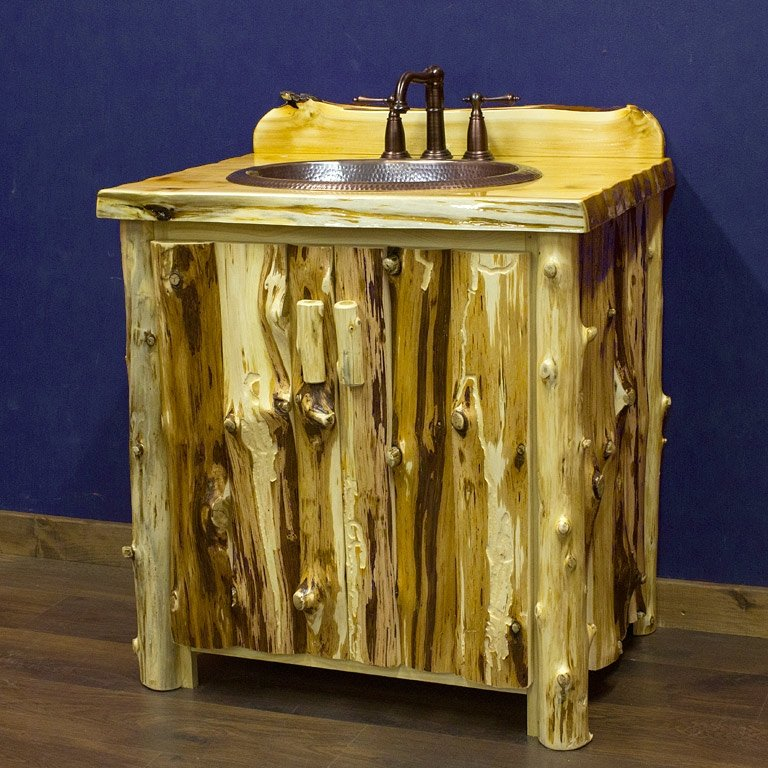 The Real Log Furniture Place Visit Our Cedar Lake Logger Vanity View Full Size Image