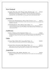 Pricelists of The Dining Room Restaurant - Rock