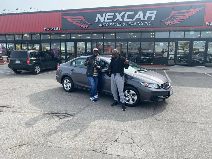 Sold! 2015 Honda Civic LX to our happy clients!  Happy Client Photo 2 of Nexcar Auto Sales & Leasing 1235 Finch Ave W - Photo 34 of 36