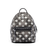 MCM Small Stark Munich Lion Camo Backpack In Grey