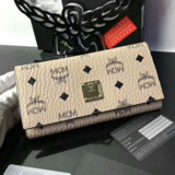 MCM Color Visetos Trifold Leather Wallet In Beige