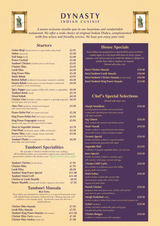 Pricelists of Dynasty Indian Cuisine