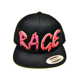 RAGE Hot Pink Acrylic letters on Black Snapback Hat