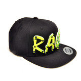 RAGE - Lime Green Acrylic letters on Black Snapback Hat