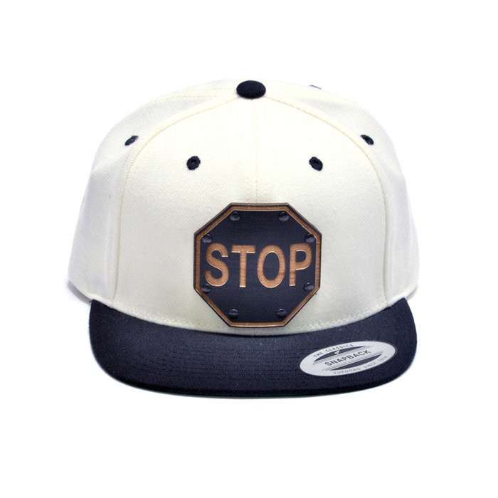 Stop Sign Wood Charm White and Black Snapback Hat