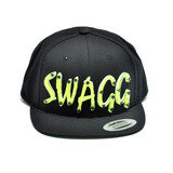 SWAGG - Lime Green Acrylic letters on Black Snapback Hat
