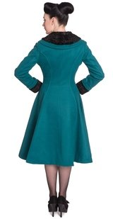 Hell Bunny Retro 50s Swing Teal Vivien Coat - Plus Sizes Available