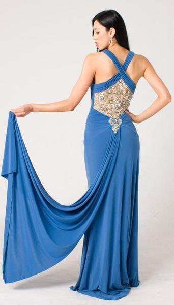 E104 SUPER SULTRY JEWEL GOWN - BLUE