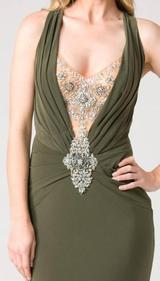 E104 SUPER SULTRY JEWEL GOWN - OLIVE