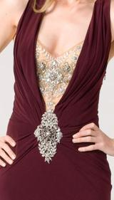 E104 SUPER SULTRY JEWEL GOWN - BURGUNDY