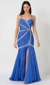 E105 VIBRANT CHIC FORMAL GOWN - BLUE