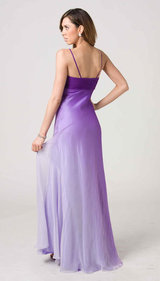 E110 COLOURFULL SILK ELEGANCE GOWN - PURPLE