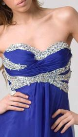 E203 SHIMMER AND SHINE STRAPLESS GOWN - NAVY BLUE