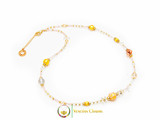 Aida Long Necklace - Rose, Gold and White