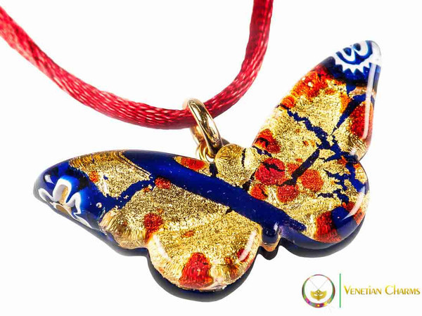 Butterfly Pendant - Gold, Blue and Red