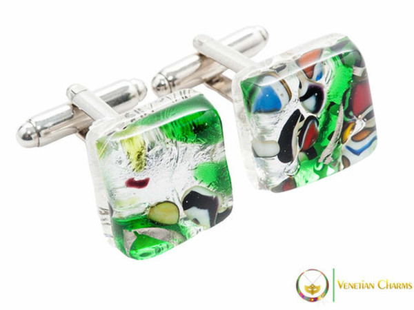 Chrome Cufflinks - Green and Silver