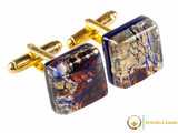 Gold Cufflinks - Brown, Black and Blue