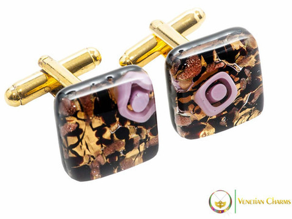 Gold Cufflinks - Gold, Black and Pink