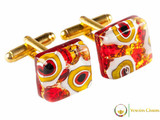 Gold Cufflinks - Red, White and Gold