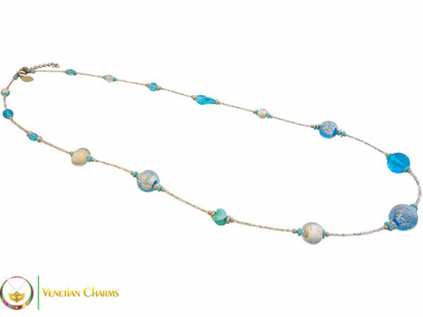 Jell Long Necklace - Blue and Aqua