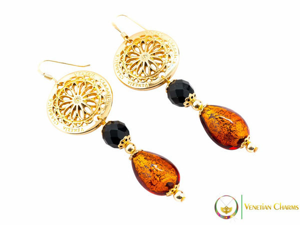 Levante Earrings - Amber, Gold and Black